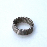 Men's Ring Silver Tone Mesh Metal