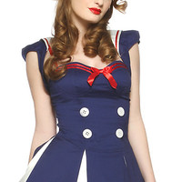 Pinup Girls Costumes | Lip Service Halloween Costume Vault 2 PC. Star Spangled Sailor Girl Halloween Costume (Incl. Shrug Dress and Mini Sailor Girl Hat)