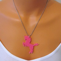 unicorn laser cut acrylic necklace pink by sweetfairyboutique