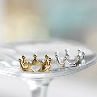 Fashion Elegant Lovely Small Open Alloy Imperial Crown Ring // 2 Color