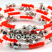 Team Spirit Custom Bracelet - Choose Your Own Colors and Word - Personalized - Swarovski Crystals