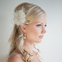 Feather Hair Clip Fascinator Bridal Head Piece by PowderBlueBijoux