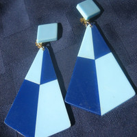 Two Tone Blue Vintage Clip on Earrings, Powder light blue & Navy blue, Geometric diamond design
