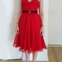 Scarlet Silk Hand Gathered Bustier Tea Length Dress by reddoll