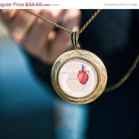 ON SALE Anatomical heart large locket - Long chain - Halloween jewelry - St. Valentine's jewelry - Free Worldwide Shipping - Gift under 35