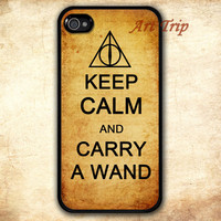 iPhone 4 Case, iphone 4s case -- keep calm and carry a wand iPhone 4 Case, harry potter iphone 4 case, deathly hallow iphone 4 case