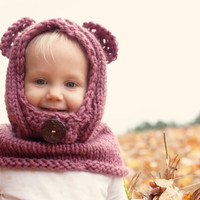 Hand knit children's hooded bear cowl
