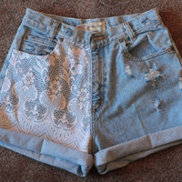 Lace Shorts - High Waisted Denim