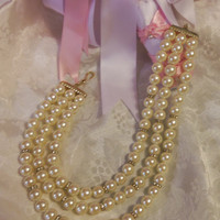 Origional Franklin Mint Pearl Rhinestone Vintage Necklace