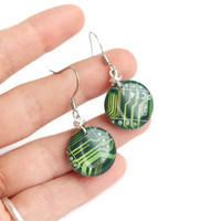 Geekery jewelry Green computer earrings made from recycled circuit board - e4258 ready to ship
