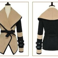HOT 2012 WOMENS WOOL LARGE LAPEL WINTER JACKET COAT CLOAK MIXED COLORS #a1