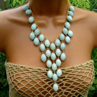 Amazon Woman Statement Necklace. Blue Amazonite Bib Necklace. Pastel Seafoam Necklace.