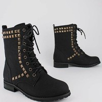studded lace-up boot $30.80 in BLACK GREY TAN - New Shoes | GoJane.com