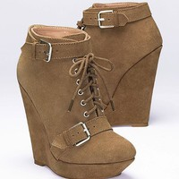 Lace-up Wedge Bootie