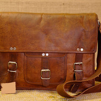 leather messenger bag Handmade 14 inch pocket square leather laptop bag shoulder bag college bag
