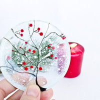 Christmas Decoration - Snow Tree on the glass - Glass Home DECOR