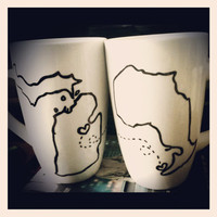 Long Distance Love Personalized State or Province Coffe Cups