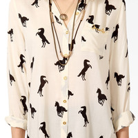 Ditsy Horse Print Button Up