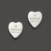 Gucci Sterling Silver Engraved Heart Stud Earrings | Bloomingdale's