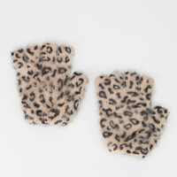 Printed Angora Fingerless Glove