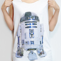 R2-D2 Shirt Robot Star Wars Shirt Movie T-Shirt Tank Top Women T-Shirt Singlet Tank Top T-Shirt Vest Tunic Women Shirt White T-Shirt Size M