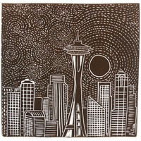 MOON RISE OVER SEATTLE Linocut Hand Pulled by AtlantisPrints