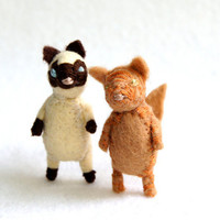 bad ass alley cat  -  siamese -  felt cat brooch