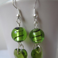 Green Swirl Ball and Heart Shape Earrings