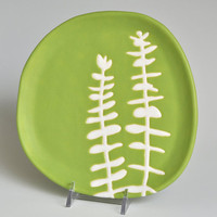 appetizer or dessert plate - eucalyptus in chartreuse green - home decor and serving dish