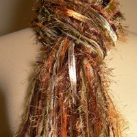 Womens Scarves Fringe Scarves - Shades of Autumn - Brown, Copper, Sage, Cream