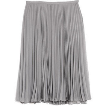 Halston Heritage Grey Plissé Knee Length Skirt - Polyvore