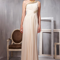 Champagne Asymmetrical Ruched Evening Dress