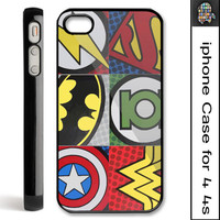 Pop comic art super hero logo on Hard Plastic iPhone Case 4 4S Cover or Iphone 5 Case