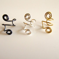 Ear Cuffs Set of 3 Spirals Gold Silver Gunmetal Gray
