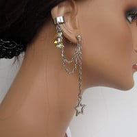 Chain Ear Cuff Silver Stars and Swarovski AB Moon Crystal