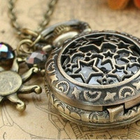 Vintage star pocket watch necklace with antique bronze sun charm and crystal charm