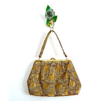 Vintage 1960s Evening Bag // Gold Metallic Clutch Purse // Holiday Handbag