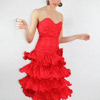 Vintage STRAPLESS RED Party Dress Tiered Crinkle Ruffle Mini - FIERCE Vintage Clothing by TatiTatiVintage on Etsy