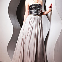 Grey A Line Evening Dress With Jewelled Bodice