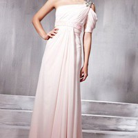 Pink Asymmetrical Evening Dress with Embellished Multiple St