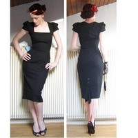 The Galaxy Fishtail Dress in Black by getgoretro on Sense of Fashion