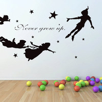 Peter pan, never grow up wall decal, mural, stickers, wall art, tinkerbell, wendy, stars.