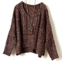 Brown Oversized Loose-gauge Cable Knitted Jumper with Batwing Sleeve