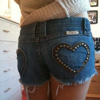 Frankie B Heart Of Steel Megan Fox Studded Pockets Cut Off Jean Shorts 4