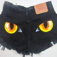 Vtg Levis Black Cat PANTHER EYES HIGH WAISTED Cut Off Denim Shorts S