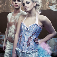 ALICE IN WONDERLAND Showgirl Burlesque corset costume circus blue pink