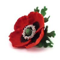 Felt brooch Red Poppy