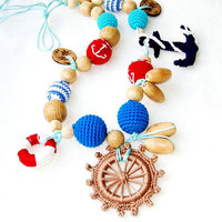 Marine crochet necklace - Teething necklace - necklace for new mommy -  steering wheel - sea ocean - mothers day
