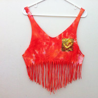 Orange Tie Dye Fringe Tribal Pocket Tank