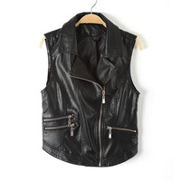 Collar Motorcycle Faux Leather Vest